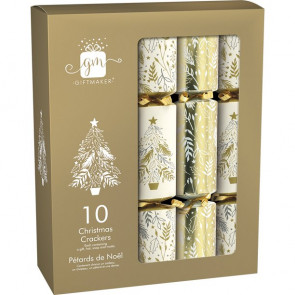 Giftmaker Gold & Cream Christmas Crackers - 10pk