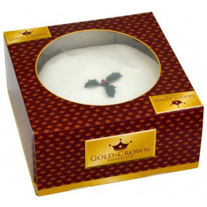 Gold Crown Top Iced Christmas Cake - Round