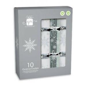 Giftmaker Silver & White Christmas Crackers - 10pk