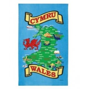 Welsh Map Tea Towel